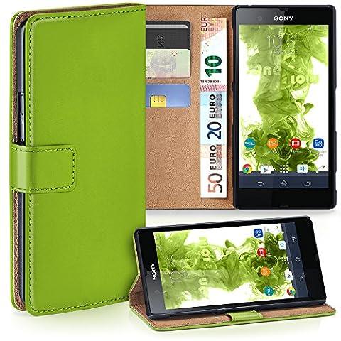 Sony Xperia Z Hülle Grün mit Karten-Fach [OneFlow 360° Book Klapp-Hülle] Handytasche Kunst-Leder Handyhülle für Sony Xperia Z Case Flip Cover Schutzhülle Tasche