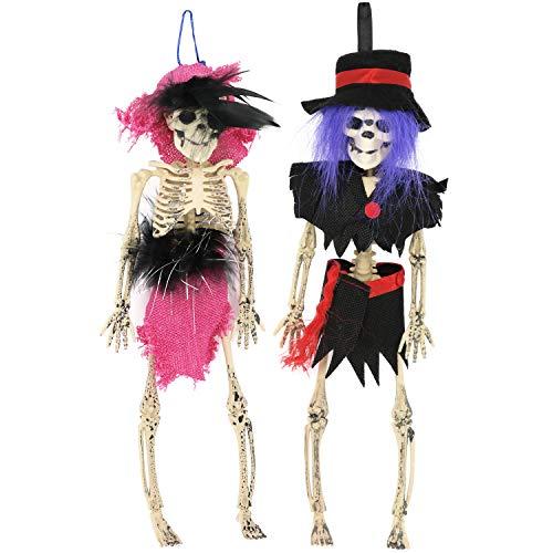 com-four® 2-teiliges Set Halloween Deko Skelett Frau und Mann, hängende oder Sitzende Skelette für Halloween, Fasching, Karneval und andere Themen Partys (02 Stück - Skelett Frau/Mann)