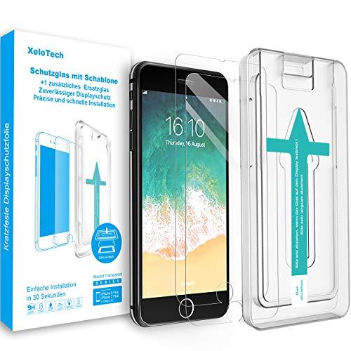 XeloTech Premium Schutzglas kompatibel mit iPhone 8 Plus /7 Plus (2 Stück) mit Schablone für hohe Passgenauigkeit - Unterstützt 3D Touch