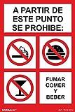 Normaluz RD45672 - Señal Adhesiva A Partir De Este Punto Se Prohibe Comer Fumar Y Beber Adhesivo de Vinilo 15x20 cm