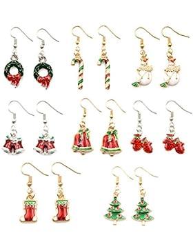 9 Stück/Satz Charm Weihnachten Theme Ohrringe-Set Für Damen Mädchen Kinder Weihnachten Schmuck Xmas Geschenk mit...