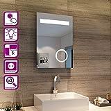 Elegant Badspiegel mit LED-Beleuchtung Energiesparend LED Badezimmerspiegel mit Schminkspiegel 50 x...