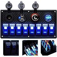 DCFlat 8 Gang circuito LED coche Marino impermeable 5 Pin Barco Rocker Interruptor Panel con fusible de doble ranura usb LED luz + interruptor de toma de corriente voltímetro para RV coche barco