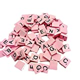 Bcfuda Giochi Giocattolo Bambino 1Anno 2 Anni 100 di Legno Scarabeo Piastrelle Nero Lettere Numeri per Mestieri Legna Alfabeti