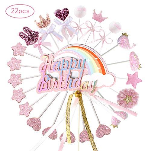 Ohighing Cake Topper Happy Birthday Rosa Kuchen Decoration Cupcake Toppers für Geburtstag Party Deko