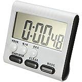 Minuteur Cuisine Electronique, Kobwa 24H Minuteur Aimant Digital Avec écran Extra Large D'affichage, Alarme Sonore, Support Aimant?pile AAA Incluse,Noir)