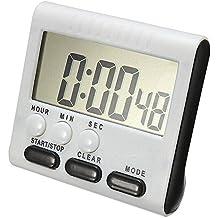 Digital Temporizador Electrónico, Kobwa 24h magnética temporizador reloj de cocina temporizador Cronómetro con pantalla de control alarma, pantalla grande, retráctil Stand Espacio Hook, fuerte magnética parte trasera (Incluye batería)