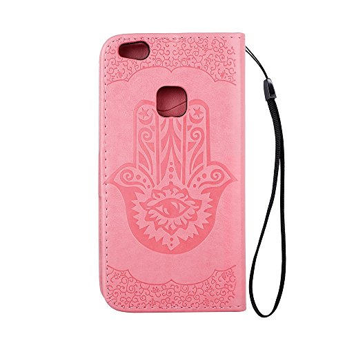 EKINHUI Case Cover Geprägte Palme Blumenmuster Retro PU Leder Geldbörse Tasche Tasche mit Card Slots und Lanyard für Huawei P10 Lite ( Color : Rosegold ) Pink
