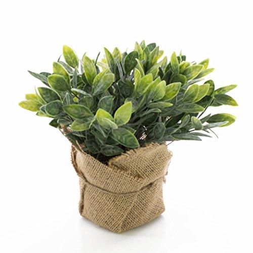 artplants Künstlicher Salbei Vitus im Jutesack, grün - weiß, 20cm - Kunstpflanze/Kräuter Pflanze