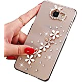 Coque Galaxy A3 (2016), Sunroyal® Transparente Bling 3D Luxe Diamant Strass Etui Housse Ultra Slim Hard PC Plastique Case Cover Clear Portable Protection pour Samsung Galaxy A3 (2016 Version) SM-A310F - Fleur Flowers