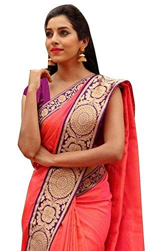 Calendar Women's Chanderi Cotton Saree With Blouse Piece (Cs1382_N,Pink,Free Size)