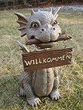 Gartendrache mit Wackelkopf Willkommen Drache Figur Gargoyle Garten