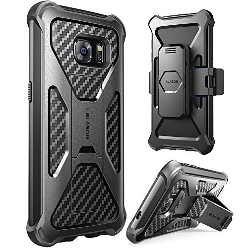 i-Blason Prime Samsung Galaxy S7 Hülle Outdoor Handyhülle Dual Layer Case Stoßfest Schutzhülle Cover mit Ständer und Gürtelclip, Schwarz
