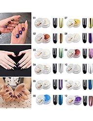 Aliver 12 Couleurs Nail Glitter Miroir Poudre Brillant Nail Art Pigmentation DIY Avec Sponge Stick (Toutes les 12 couleurs)