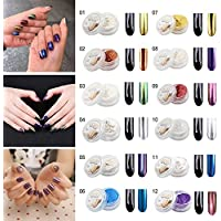 Aliver 12 Colors Nail Glitter Mirror Powder Shinning Nail Art DIY Pigment With Sponge Stick