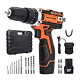 Cordless Drill, NASUM Impact Drills 5801 Drill Cordless Screwdriver Set, 12V mat LED Liicht (2 Batterien, 2 Ah, Max. Dréimoment: 25Nm, 18 + 1 Dréimoment Stages, 21-pcs. Accessory Kit) Professionelle Fall