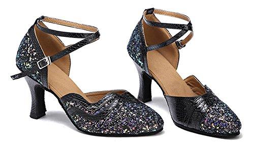 Scarpe da donna paillettes Danza Suola morbida Sala da ballo moderna Samba Latin Pompe rosse Taglia 36To40 black 7cm heel