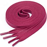 LACCICO Finest Waxed Laces® 6 mm breite flache gewachste Schnürsenkel; Farbe: Fuchsia, Länge: 120 cm