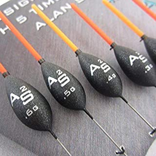 FTD - 6 Assorted Quality DRENNAN AS2 (Alan Scotthorne) Fishing Pole Floats (1.75mm Tips) - Available in Single Sizes & combinations - also comes with 10 FTD Barbless Hooks (6 floats - 1 of each size)