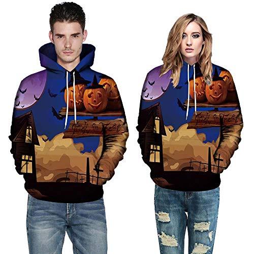 OverDose Damen Liebhaber Stil Männer Frauen Modus 3D Print Langarm Halloween Paare Clubbing Grill Party Sport Hoodies Top Bluse ()