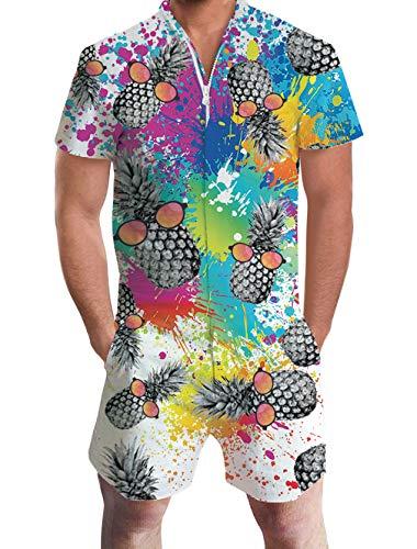 ALISISTER Onepiece Jumpsuit Kurz Herren Overalls Strampler Sommer Jumpsuits Kostüm Anzug für Männer mit 3D Paint Ananas Drucken L
