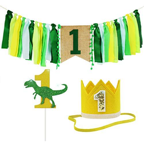 Geburtstag Dekorationszubehör 3 Stück Sets | Kinder 1. Geburtstag Dekorationen Banner - Dinosaurier Cake Topper, Nr. 1 Krone, Hochstuhl Banner für ersten Geburtstag Party Supplies ()