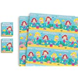 Convenient Birthday Bundle. Children's Luxury Mermaid Gift Wrap with matching Personalised Birthday Card