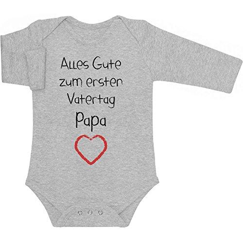 Shirtgeil Alles Gute zum ersten Vatertag Papa Herz - Vater Geschenk Langarm Baby Body 74/80 (6-12M) Grau
