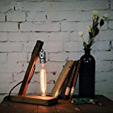 YuensGroup National Vintage Style Desk Lamp(With 40W Long Glass Bulb Light),Wood Base,Wooden Arm ,Black Cord, Switch,E27 Silver Holder,Socket Plug Kit Set Lamparas,Living Room,Bedroom Lamps Replacement