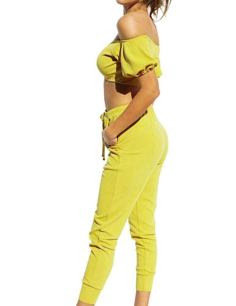 Donna con Spalle Scoperte Top 2 Pezzi Completo Tute Set Pantaloni Sportivi Tuta Tuta Intera FANCYINN Completo Due Pezzi per Donna