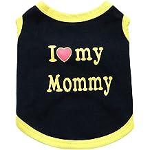 YiJee Nueva Lindo Chaleco Ropa para Mascotas Perro Suave Perrito Camiseta de Algodón Negro Amarillo Mommy XL