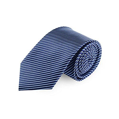 Business Krawatten (Chillify Krawatte Herren für Arbeit, Hochzeit, Business - blau-dunkelblau fein gestreift)