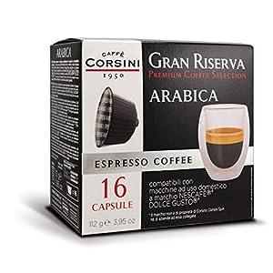 Caffè Corsini - Gran Riserva Arabica, Miscela di Caffè Espresso in Capsule Compatibili DolceGusto* - Il Caffè Espresso Italiano Dolce, Cremoso e Profumato, 6 Confezioni da 16 Capsule