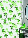 Spirella Frog - Cortina de Ducha de Tela (200 x 180 cm, poliéster), Color Blanco con diseño...