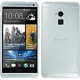 PhoneNatic Case für HTC One Max Hülle Silikon weiß transparent Cover One Max Tasche + 2 Schutzfolien