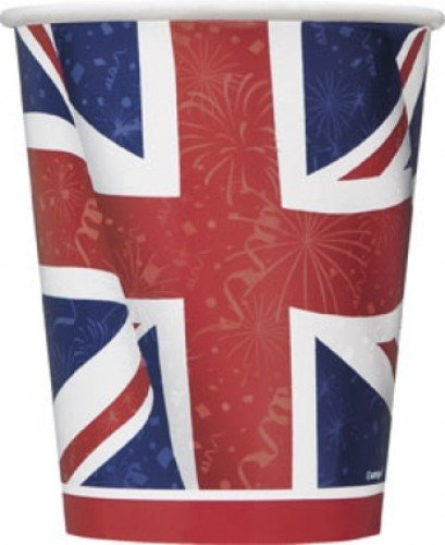 of British Paper Cup 8 Stück Patriotische Union Jack Party Dekorationen für British Mottoparty Celebration (British Party Dekorationen)