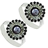 #3: PCM Ethnic Zircon Flower Antique Silver Plated Toe Ring For Women
