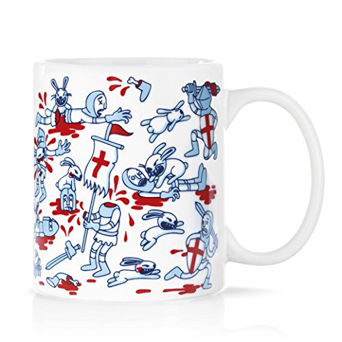 Taza mug desayuno de porcelana blanca 30 cl. Modelo Conejo Asesino