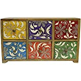 Multicolor Wooden Hand Painted Decorative Box With 6 Drawer