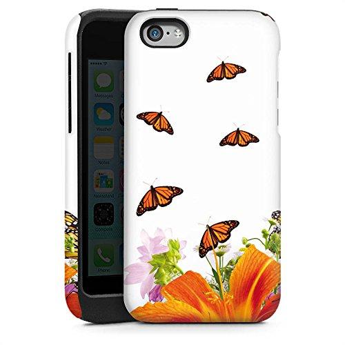 Apple iPhone 5s Housse Étui Protection Coque Papillons Fleur Fleur Cas Tough brillant