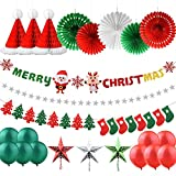 AsperX Ornamenti di Natale, 25 Pezzi Banner di Natale Banner e Calze per Festa di Natale Bandiera Appesa di Natale, Ghirlande con Stelle di Natale Appesi Fiocchi di Neve Cappello a Nido d'Ape