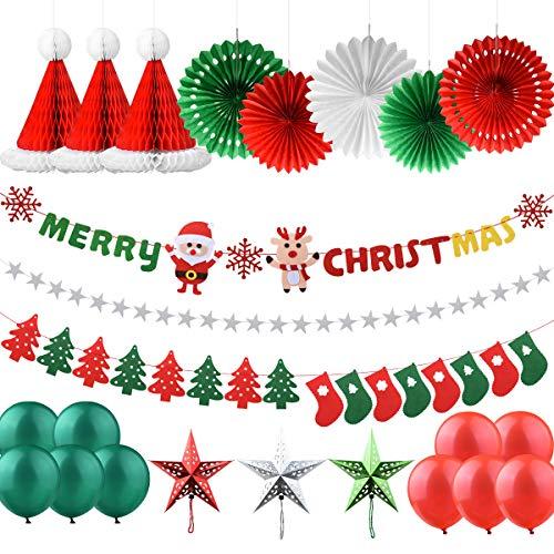 AsperX Weihnachtsdekorationen Set, 25 Pcs X Mas Deko Weihnachtsfeier Banner und Socken Baumfahne Hanging Bunting Filzgirlande, Weihnachtssterne Girlanden Hanging Snowflake Fans Honeycomb Hat
