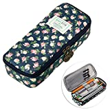 BTSKY Multifunction Waterproof Retro Flower Floral Pen Pencil Case Holder Bag - Storage Bag with Flower Pattern, Makeup Pouch, Zipper Bag, School Students Stationery for Girls(Dark Blue)