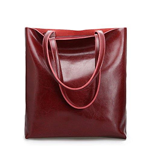 ZPFME Frauen Handtasche Rindsleder Damen Tasche Mode Mädchen Party Retro Dame Einfach Große Kapazität Mode Handtasche Einkaufstasche WineRed