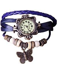 Meenakshi Handicraft Emporium Analogue Round Dial Butterfly Blue Leather Women's Watch