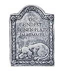 """Grabstein Hund """"Du findest deinen Platz im Himmel"""", frost- und wetterfest, massiver Steinguss"""