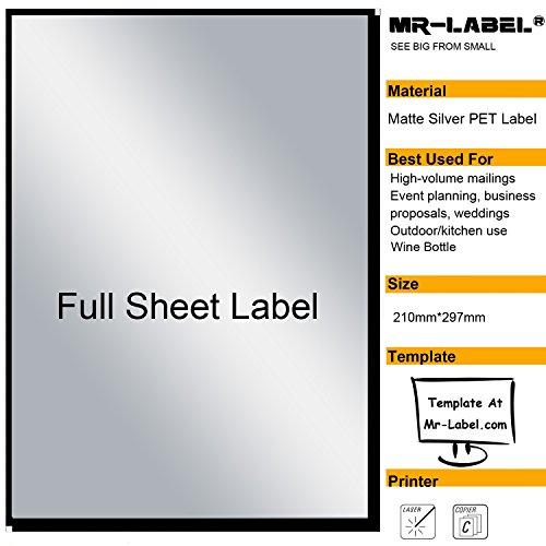 Mr-Label® Extra Large Full-Foglio argento opaco etichetta