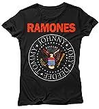 LaMAGLIERIA Camiseta Mujer Ramones - Classic 2 Colors Logo Maglietta Rock 100%...