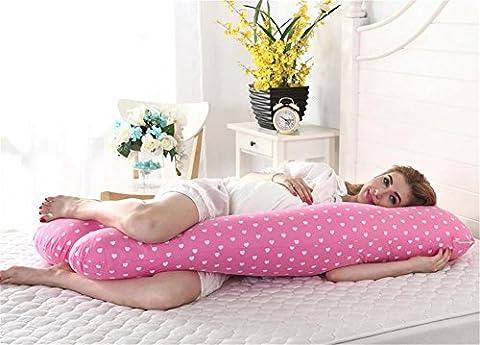 DU&HL Confortable Full Body / maternité grossesse Oreiller, soulagement de la douleur Oreiller, coussin d'allaitement Avec 100% coton couverture, dos et ventre soutien Grand cadeau pour maman et bébé!