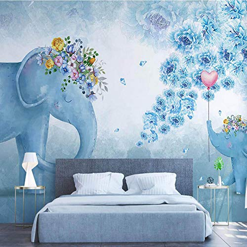 Elefant Tier Kinder Schlafzimmer Fototapete Dekor Floral 3d Geprägte Tapete Neuheit Tapete400cmx200cm -